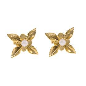 """Σκουλαρίκια  """"DAISIES"""" σε κίτρινο χρυσό 14ΚΤ με μαργαριτάρι"""