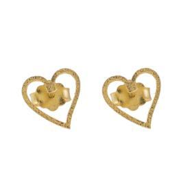 Σκουλαρίκια ''HEARTS'' σε κίτρινο χρυσό 14ΚΤ.  SK003015