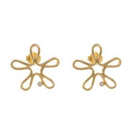 """Σκουλαρίκια """"DAISIES"""" σε κίτρινο χρυσό 14ΚΤ με ζιργκόν.    SK003019"""