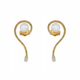 """Σκουλαρίκια """"PEARLS"""" σε κίτρινο χρυσό 14ΚΤ."""