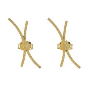 Σκουλαρίκια ''LINES'' σε κίτρινο χρυσό 14ΚΤ.
