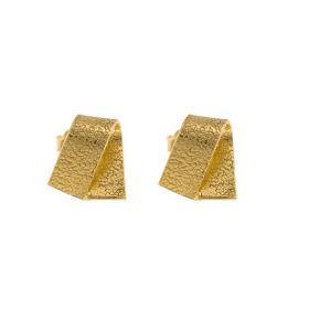 Σκουλαρίκια σε κίτρινο χρυσό 14ΚΤ με σφυρήλατη επιφάνεια.