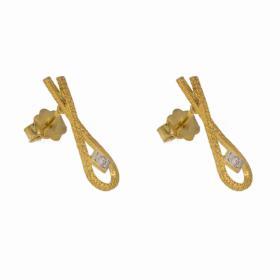 Σκουλαρίκια ''FISH'' σε κίτρινο χρυσό 14ΚΤ με  ζιργκόν