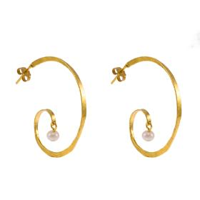 "Earrings ""LINKS"" gold 14kt with pearls."