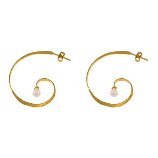 """Σκουλαρίκια """"LINKS"""" σε κίτρινο χρυσό 14ΚΤ με μαργαριτάρια."""