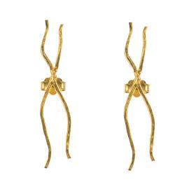 """Σκουλαρίκια """"RIBBON"""" σε κίτρινο χρυσό 14ΚΤ."""