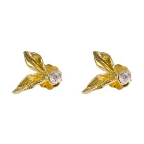Σκουλαρίκια ''DAISIES''  σε κίτρινο χρυσό 14ΚΤ με ζιργκόν