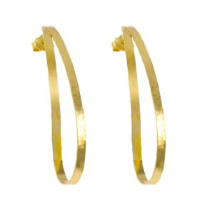 "Earrings ""RIBBON""  gold  14kt  with silky surface."
