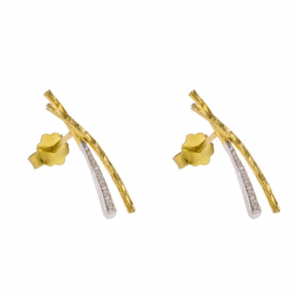 Σκουλαρίκια σε κίτρινο χρυσό 14ΚΤ με  ζιργκόν