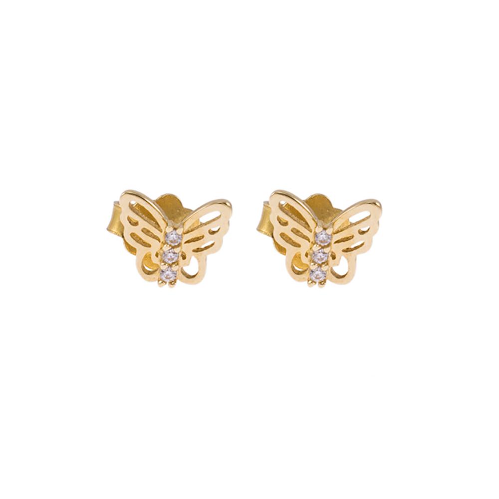 Σκουλαρίκια πεταλούδες σε κίτρινο χρυσό 14ΚΤ με  ζιργκόν