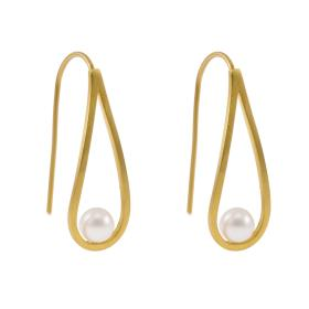 Earrings gold 14kt with pears.