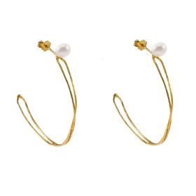 "Earrings ""LINKS"" with ""PEARLS"" gold 14kt"