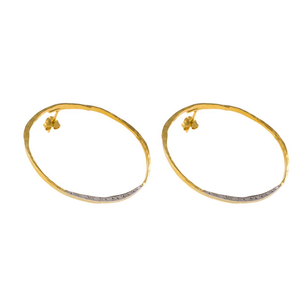 """Σκουλαρίκια """"LINKS"""" σε κίτρινο χρυσό 14ΚΤ με ζιργκόν."""
