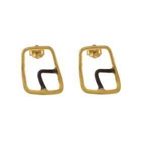 """Σκουλαρίκια  """"GEOMETRIC SHAPE""""  σε ασήμι επιχρυσωμένο και ασήμι με μαύρη πατίνα.   SK006018"""