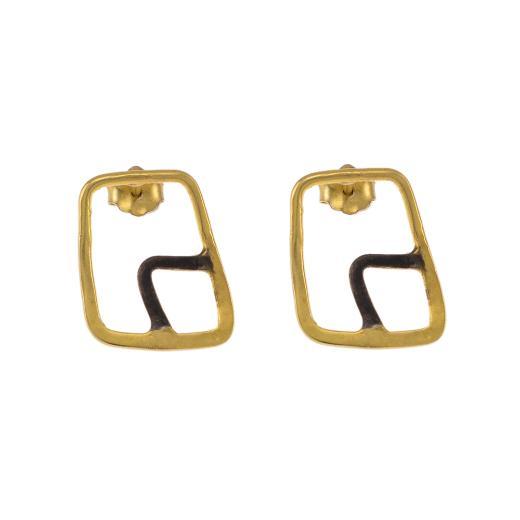 Σκουλαρίκια  σε ασήμι επιχρυσωμένο και ασήμι με μαύρη πατίνα.