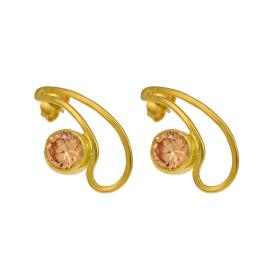 """Σκουλαρίκια """"STONE"""" σε επιχρυσωμένο ασημί με πορτοκαλί πολύτιμο λίθο."""