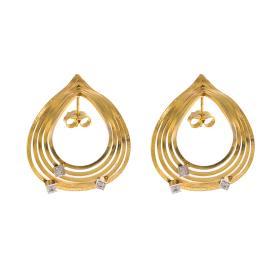 """Σκουλαρίκια """"CYCLES"""" σε κίτρινο χρυσό 14ΚΤ με  ζιργκόν"""