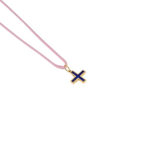 """Σταυρός """"CROSSE""""  σε κίτρινο χρυσό 14 ΚΤ με σμάλτο  διπλής όψης."""