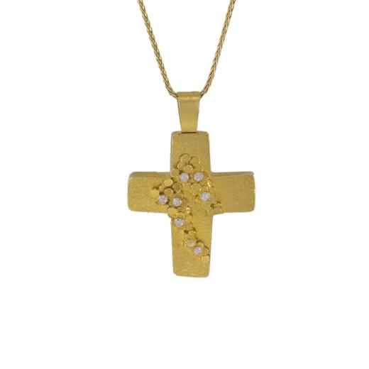 """Σταυρός """"DOTS"""" ματ σε κίτρινο χρυσό 14Κ με ζιργκόν."""