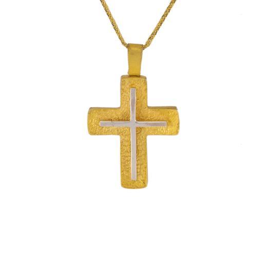 Σταυρός σε κίτρινο χρυσό 14ΚΤ με ένα λευκό σταυρό στην μέση.
