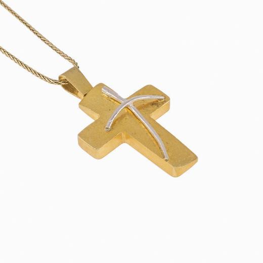 Σταυρός ματ σε κίτρινο χρυσό 14ΚΤ με μικρό λευκόχρυσο σταυρό 14 KT διαγωνίος.