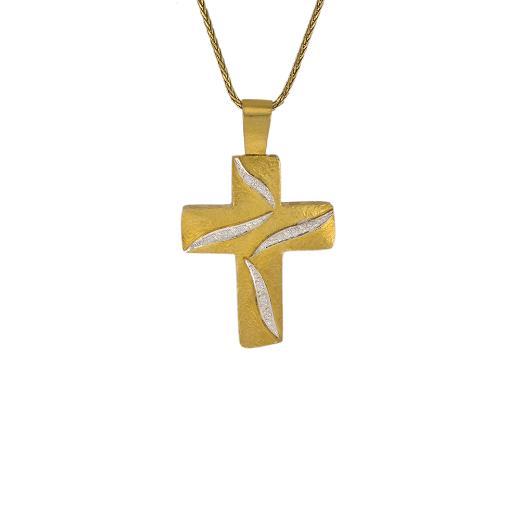"""Σταυρός """"FLAMES"""" σε κίτρινο χρυσό 14ΚΤ με ζιργκόν."""
