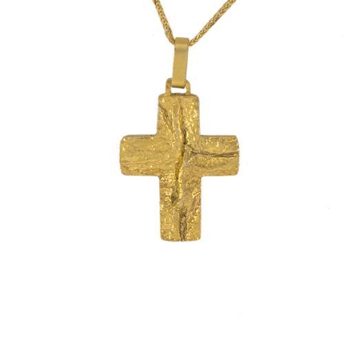 Σταυρός σε κίτρινο χρυσό 14ΚΤ με σφυρήλατη επιφάνεια.