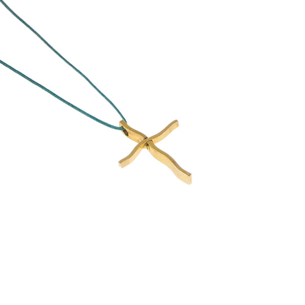 """Σταυρός μικρό μέγεθος """"LINES"""" σε κίτρινο χρυσό 14ΚΤ με κυμματισμό στις άκρες ."""