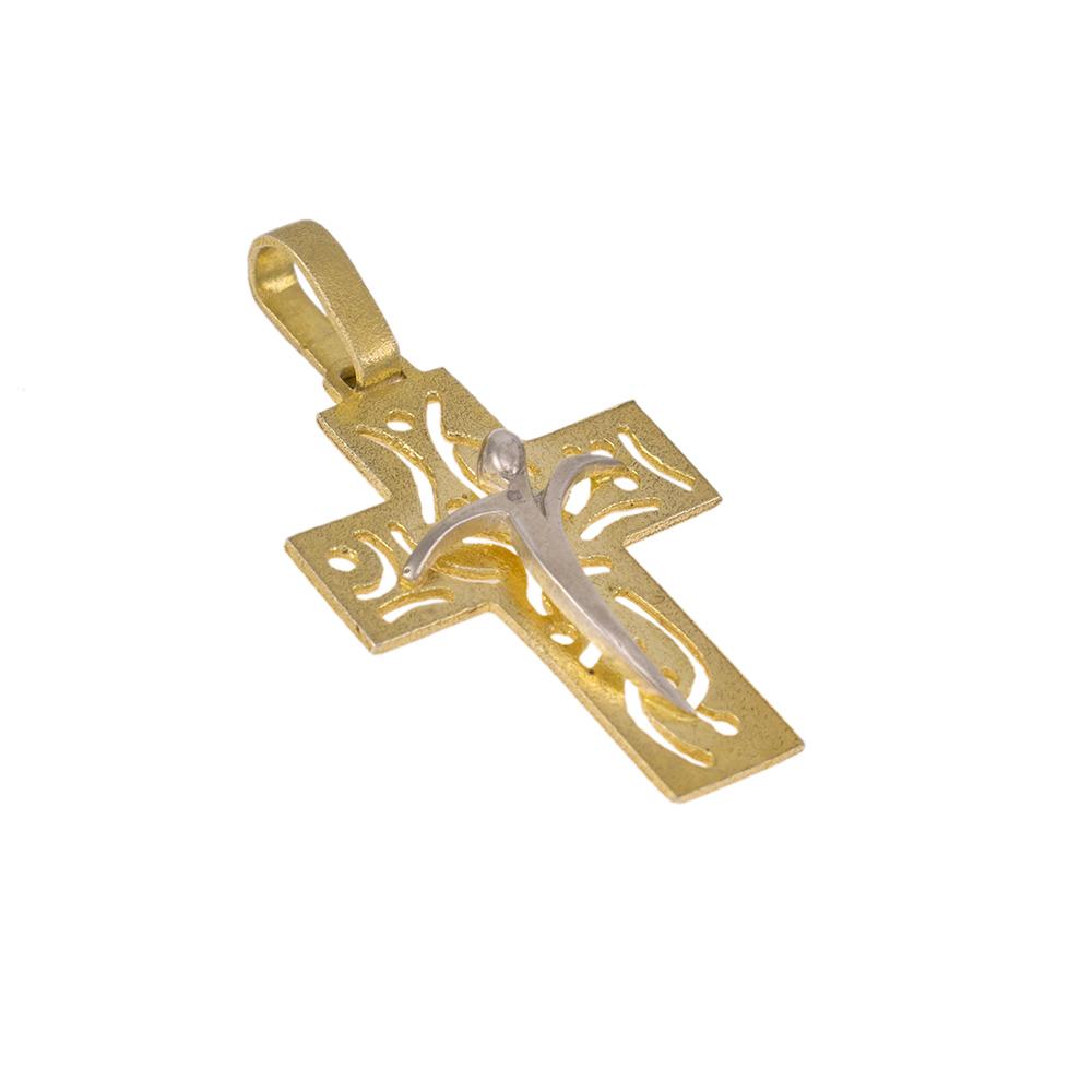 Σταυρός  σε κίτρινο και λευκό χρυσό.