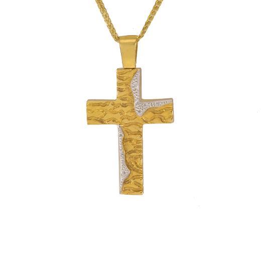 """Σταυρός """"LINES"""" σε κίτρινο χρυσό 14Κ με ζιργκόν."""