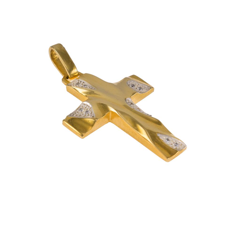 """Σταυρός """"WAVES"""" σε κίτρινο χρυσό 14Κ με ζιργκόν."""