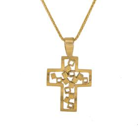 """Cross """"CUBES"""" in yellow gold 14 kt"""