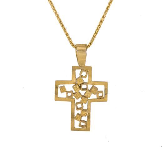 """Σταυρός """"CUBES"""" σε κίτρινο χρυσό 14ΚΤ."""