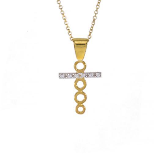 """Σταυρός """"CYCLE"""" σε κίτρινο χρυσό 14Κ με ζιργκόν σε λευκόχρυση  οριζόντια σειρά ."""