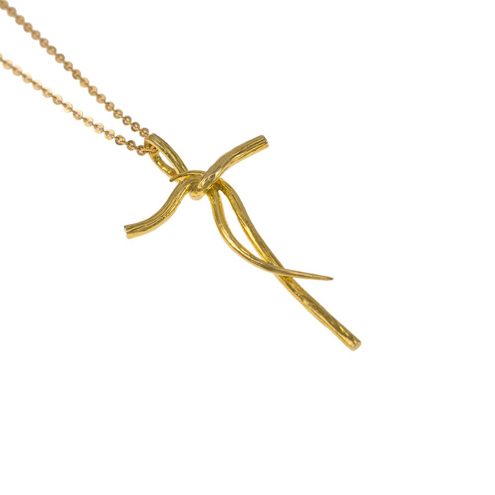 """Σταυρός """"RIBBON"""" σε κίτρινο χρυσό 14ΚΤ"""