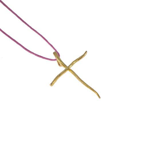 """Σταυρός """"LINES"""" με κυματιστό σύρμα σε κίτρινο χρυσό 14ΚΤ."""