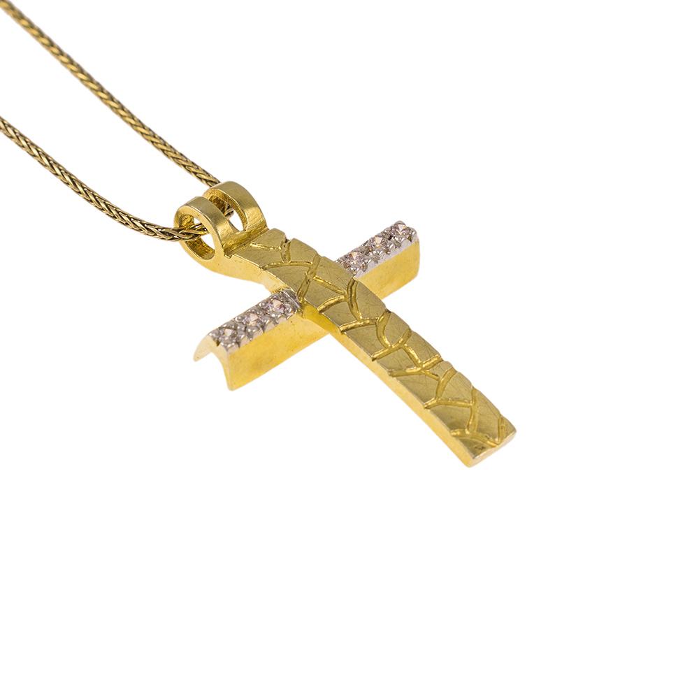 """Σταυρός  """"LAVA""""  σε κίτρινο χρυσό 14Κ με ζιργκόν."""