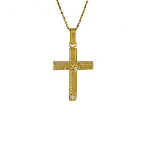 Σταυρός σε κίτρινο χρυσό 14Κ με ζιργκόν