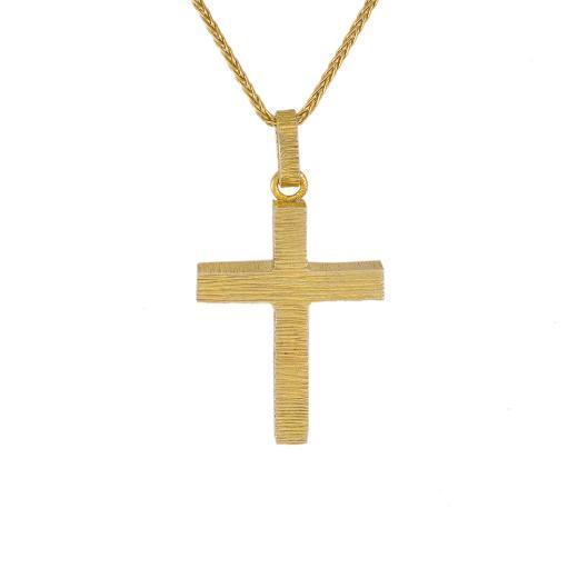 Σταυρός  τετραγωνισμένος σε κίτρινο χρυσό 14ΚΤ.