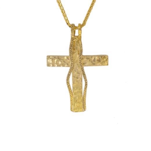 """Σταυρός """"RIBBON"""" σε κίτρινο χρυσό 14ΚΤ."""