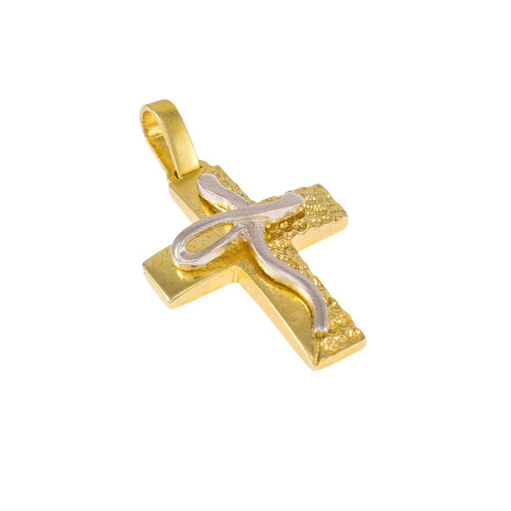 Cross in yellow  gold 14 kt with a white gold cross at the middle.