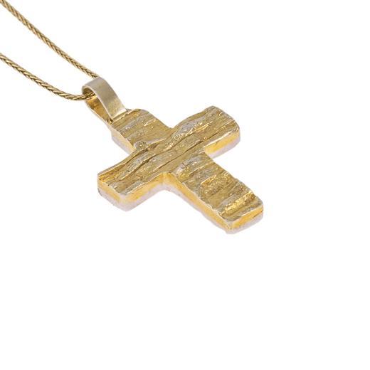 """Σταυρός """"STONE"""" σε κίτρινο και λευκό χρυσό 14Κ  διπλής όψεως."""