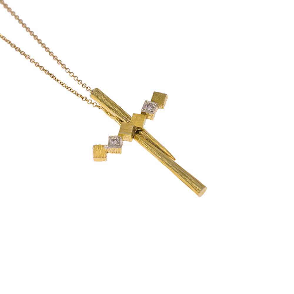 "Cross ""CUBES"" gold 14kt with zirgon."