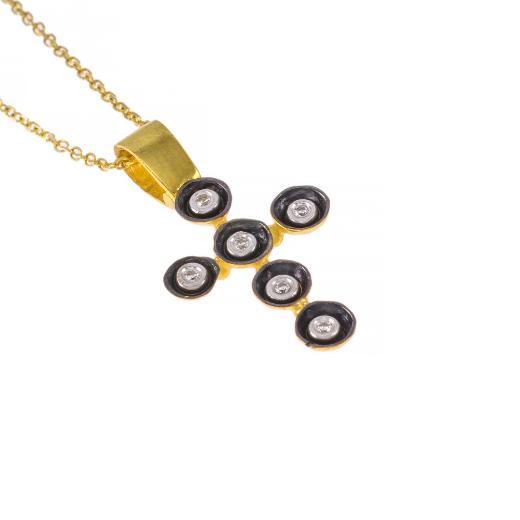 Σταυρός ''CAVE'' σε κίτρινο χρυσό 14Κ με ζιργκόν.