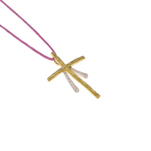 """Σταυρός """"RAYS"""" σε κίτρινο χρυσό 14Κ με ζιργκόν."""