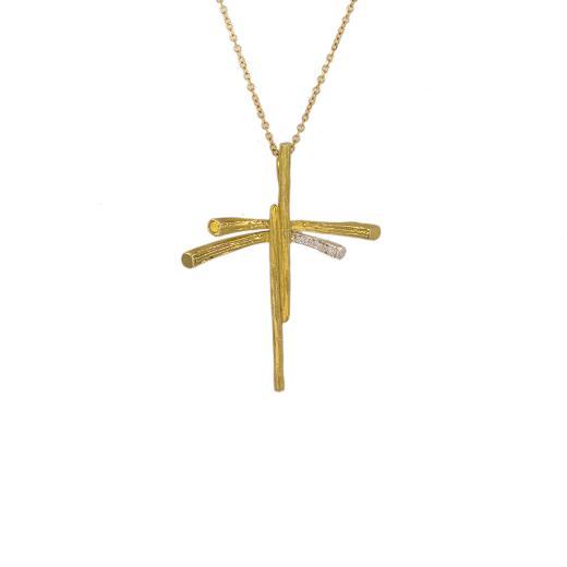 """Σταυρός """"RAYS""""  μικρός  σε κίτρινο και λευκό χρυσό 14ΚΤ με ζιργκόν σε μια από τις ακτίνες ."""