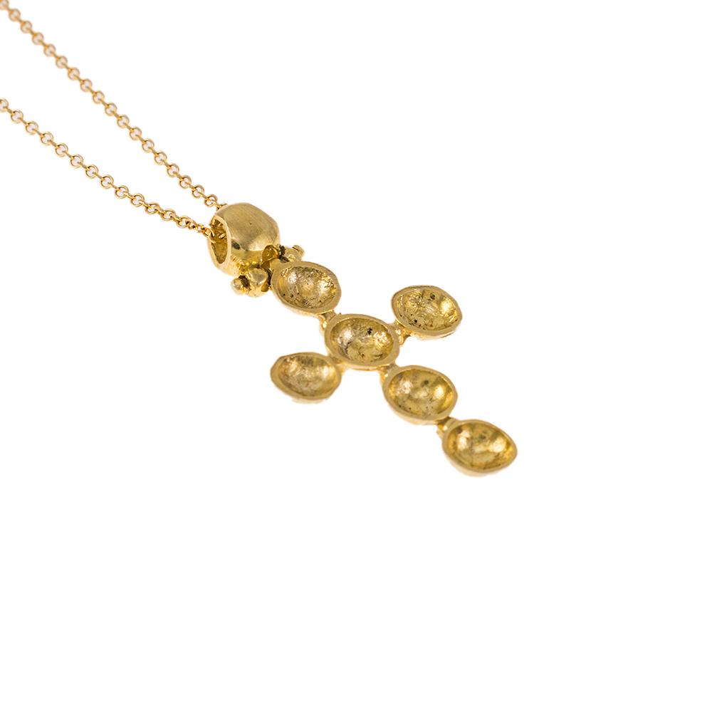 """Σταυρός """"CAVES"""" σε κίτρινο χρυσό 14ΚΤ"""