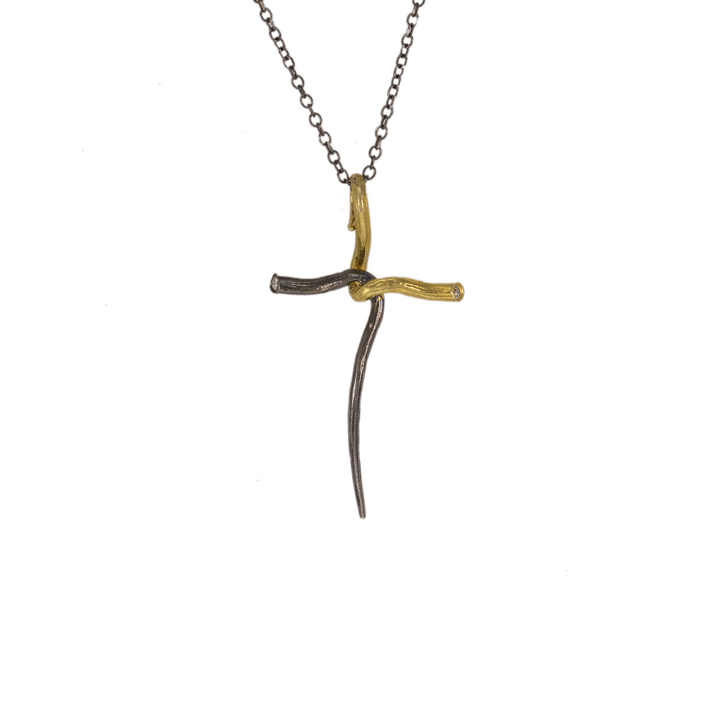 """Σταυρός """"RIBBON"""" σε κίτρινο χρυσό 14Κ με ζιργκόν με επιροδιωμένη την μια επιφάνεια. ."""