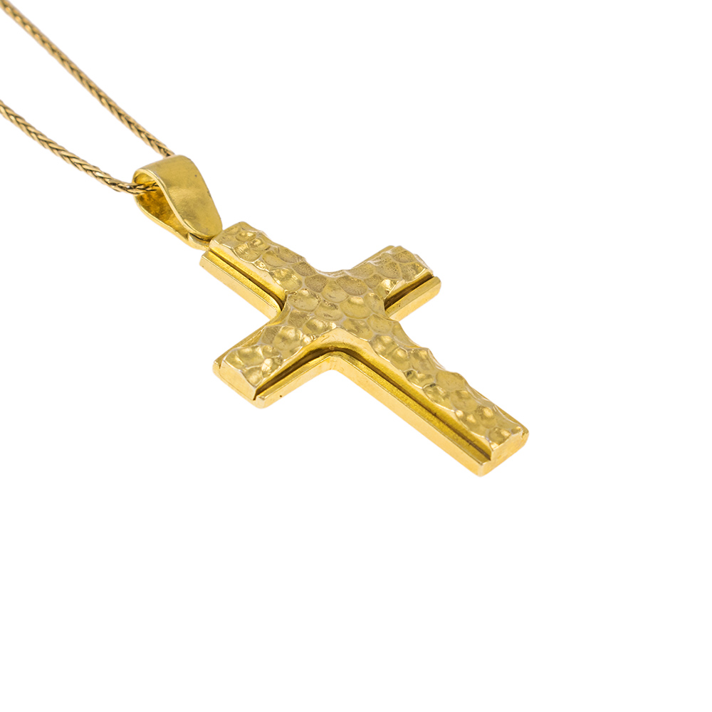 """Σταυρός διπλός """"LAVA"""" σε κίτρινο χρυσό 14ΚΤ με ανάγλυφη την επάνω επιφάνεια."""