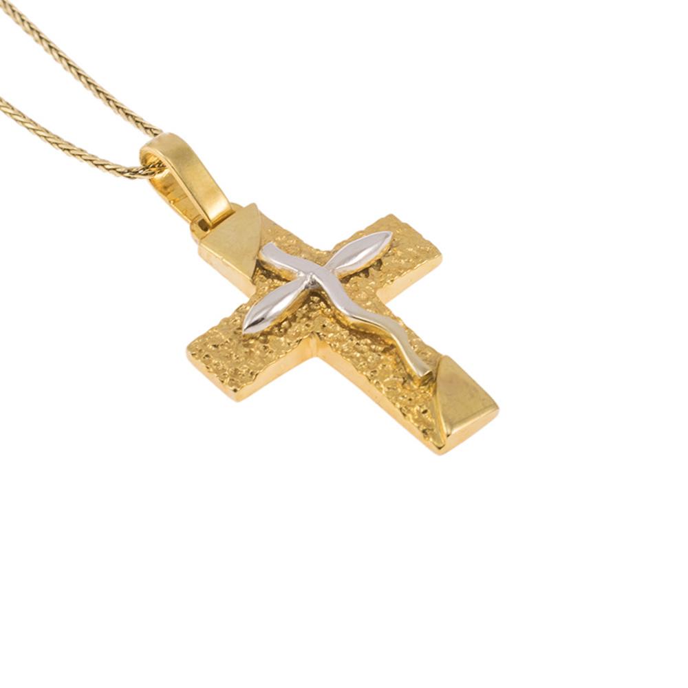 Σταυρός σε κίτρινο χρυσό 14ΚΤ με λευκόχρυσο μικρό σταυρό στη μέση.